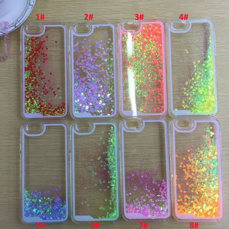 Discolor Twinkle Lover Glitter Flowing Liquid Case For iPhone 4 4S/5 5S Transparent Clear Cover Hard Plastic Cell Phone cases(China (Mainland))