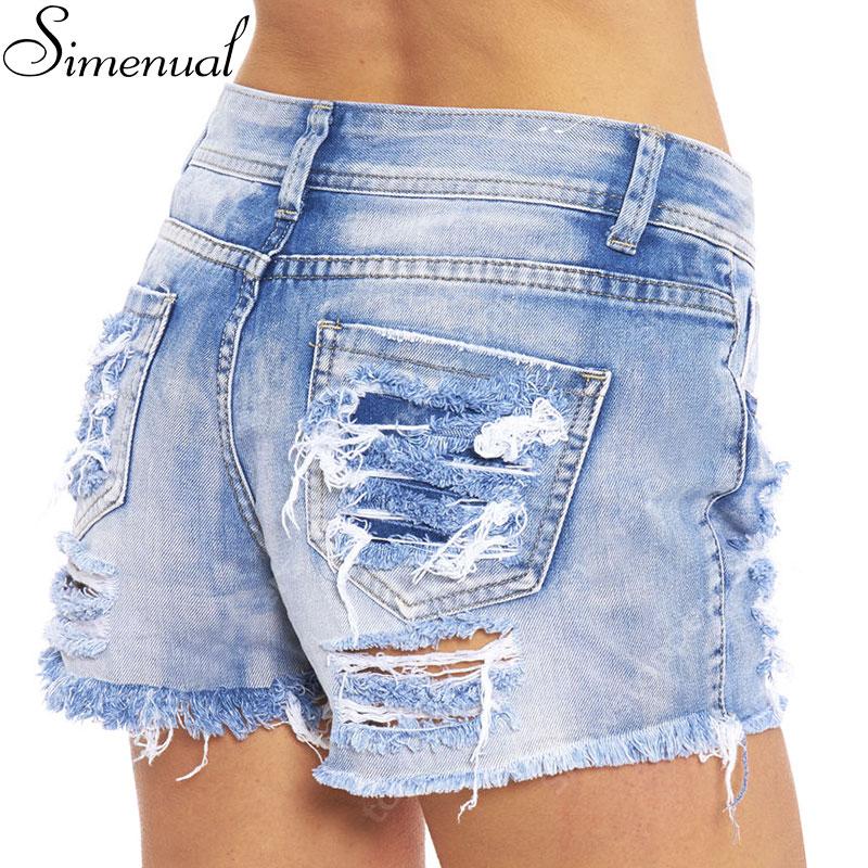 European fashion 2016 summer denim shorts with high waist tassel sexy slim light blue ripped jeans short female women clothing(China (Mainland))