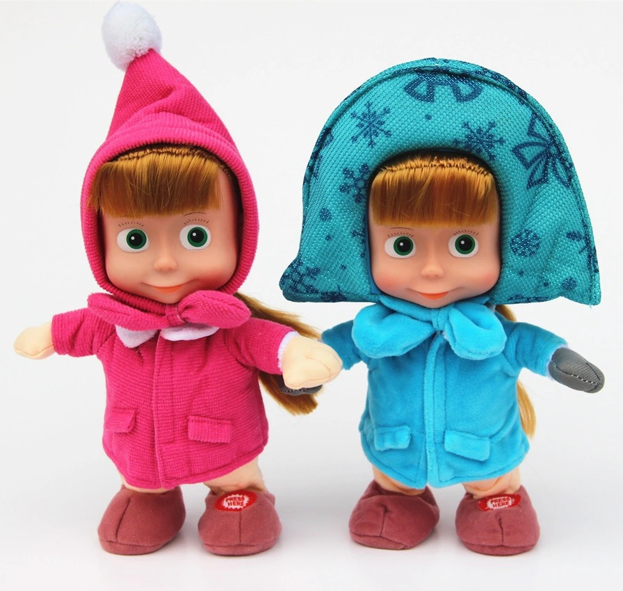 100% Plush 2015 new hot sale Russian Masa And Bear Musical Dolls Russian Language Music Toys For Girls Russia Christmas Gifts(China (Mainland))