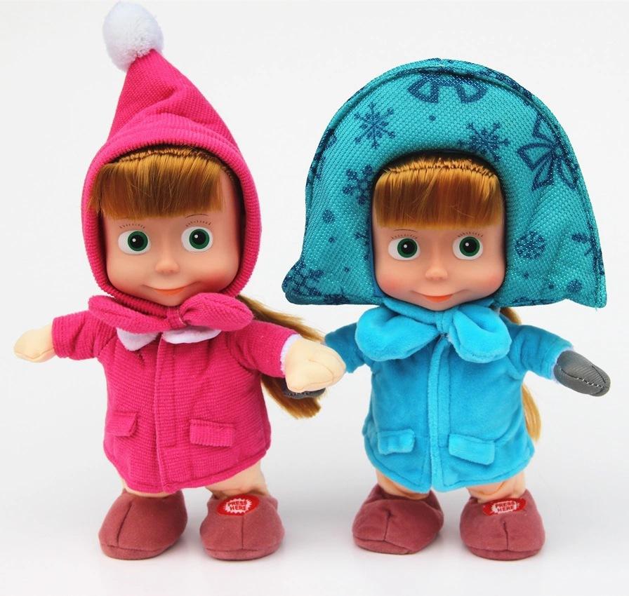 100% Plush 2015 new hot sale Russian Masha And Bear Musical Dolls Russian Language Music Toys For Girls Russia Christmas Gifts(China (Mainland))