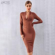 ADYCE 2019 חדש חורף נשים תחבושת שמלת Vestidos סקסי עמוק V ארוך שרוול Bodycon מועדון שמלת Midi סלבריטאים ערב המפלגה שמלה(China)