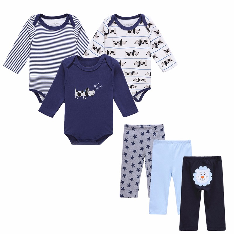 HTB1Jc.QOVXXXXXlapXXq6xXFXXXj - 6 PCS /Lot Mother Nest Baby Boy Clothes NewBorn Toddler Infant 0-12 Autumn/Spring Baby Rompers+ Baby Pants Baby Clothing Sets