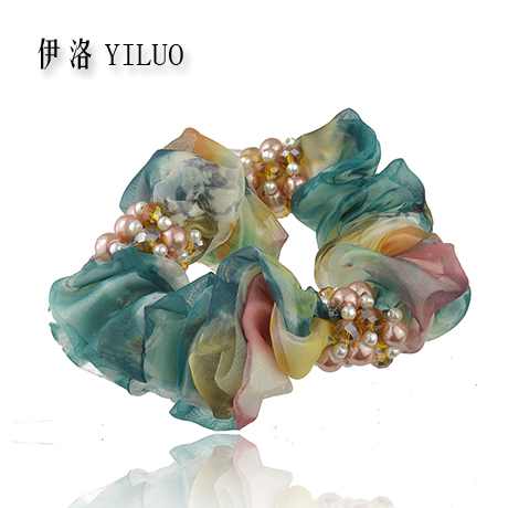 Elegant Little Pearls Fabric Multicolor Flower Blossom Ponytail Holder Hair Band FREE SHIPPING(China (Mainland))