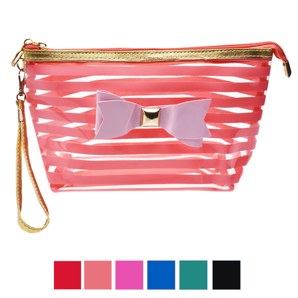 Transparent PVC Bowknot Stripe Cosmetic Bag Containers for cosmetics bag Free Shipping&Wholesale(China (Mainland))