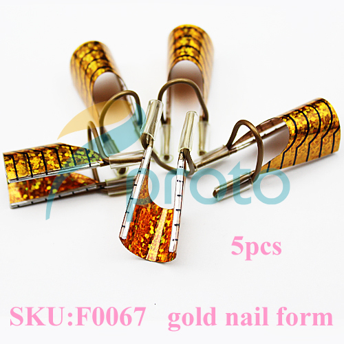 5 pcs dual gold nail form for nail art making C curve nail tools DROPSHIPPING [retail] SKU:F0067