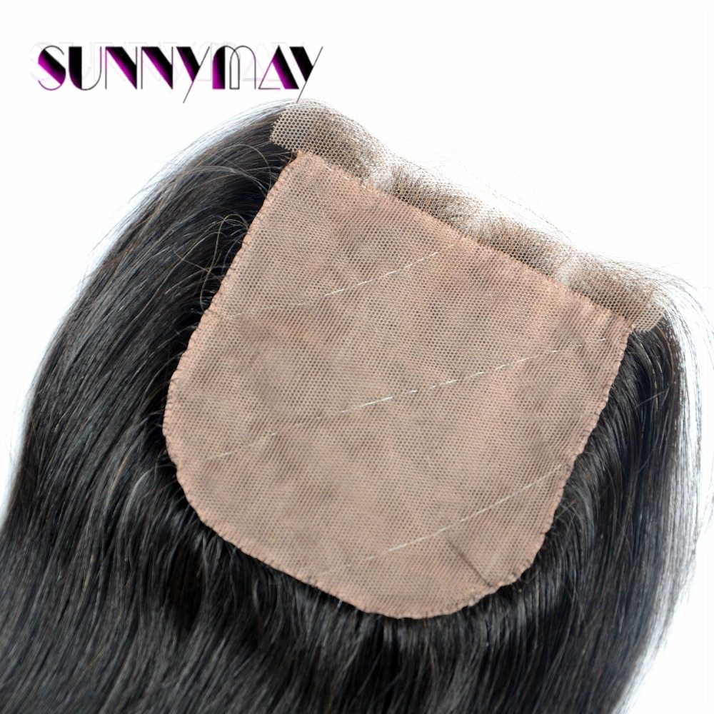Three part 100% Indian virgin human hair jerry curly top closure with 3 part bleached knots closure in stock<br>