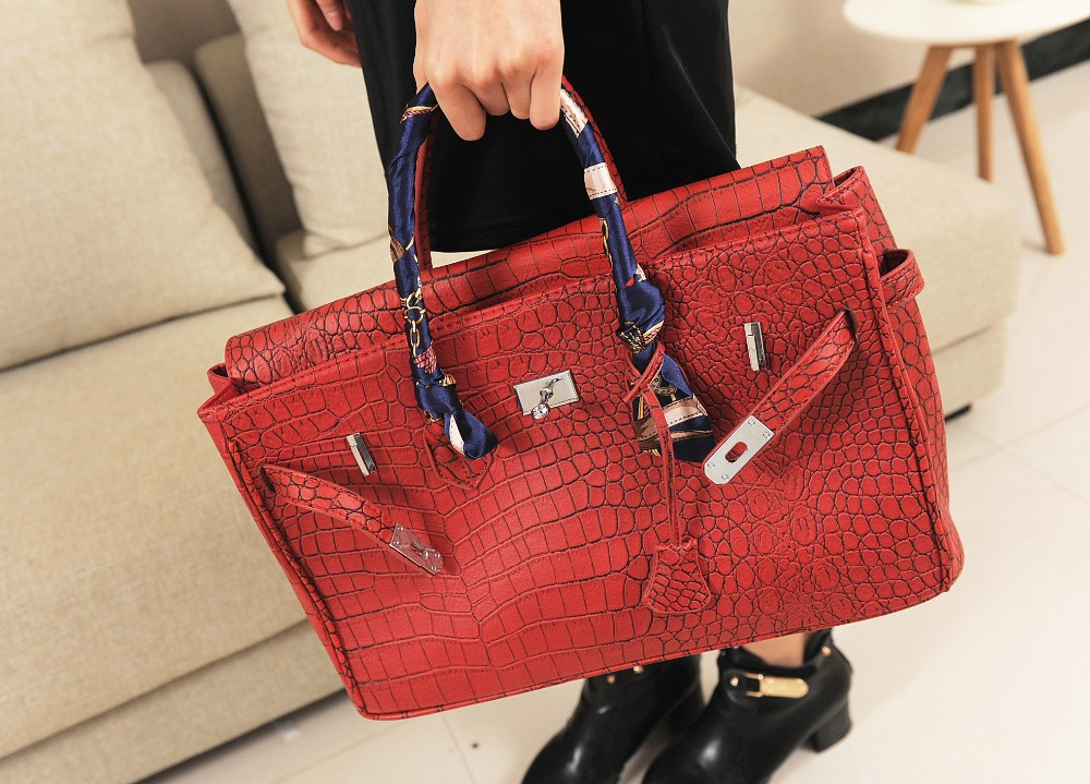 Classical crocodile pattern Birk leather women handbag Silver hardware handbag Platinum bags + free gift a silk scarf(China (Mainland))