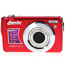 """New HD Digital Camera 15MP 2.7"""" TFT 3X Optical Zoom Face Tracking Anti-shake Telescopic lens Built-in Flash Red E9020C  Alishow"""