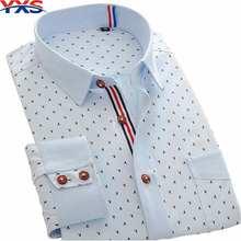 YXS32 New 2015 Autumn Men'S Dress Shirts Long Sleeve High Quality Commerce Cotton Polka Dot Brand Slim Fit Formal Casual Shirts(China (Mainland))