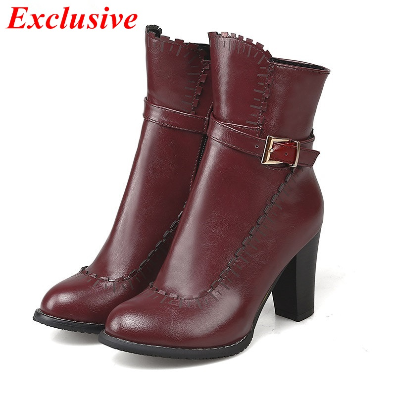 2015 Thick with metal decorative belt buckle Zipper Autumn winter Ankle boots Duantong Black Yellow Red Fashion Martin boots