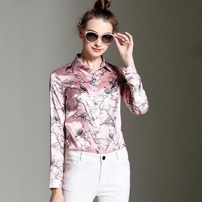 2016 Autumn long sleeve bird print silk shirts women office work wear casual Silk tops flower pink blouse satin lady - Beautiful fable store