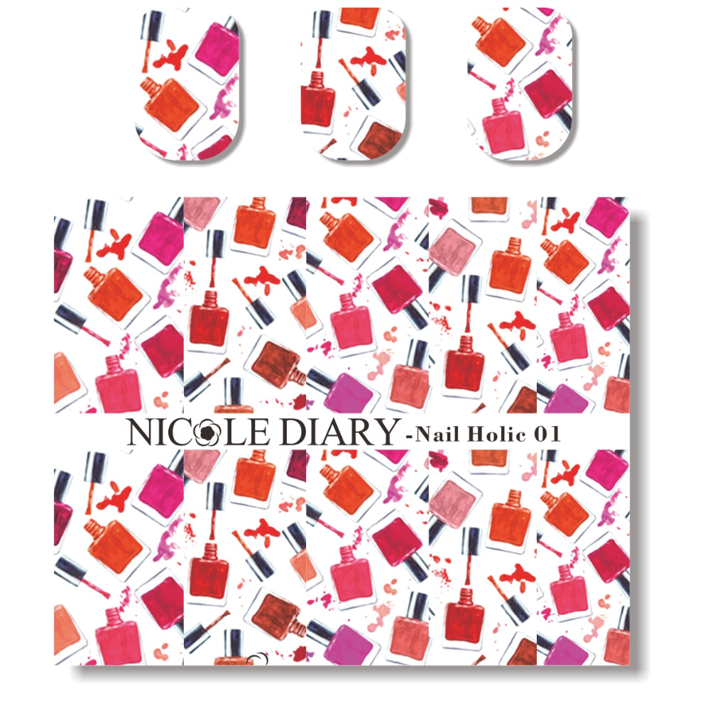 NICOLE DIARY Nail Art Water Decals Colorful Pattern Stickers Design Tips Decoration Nail Art Water Tattoo 31358(China (Mainland))