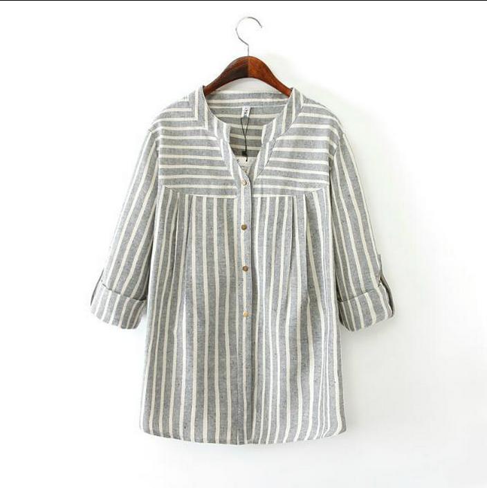 customization of large size women V collar shirt striped cotton washed 2016 female autumn new long sleeved cardigan(China (Mainland))