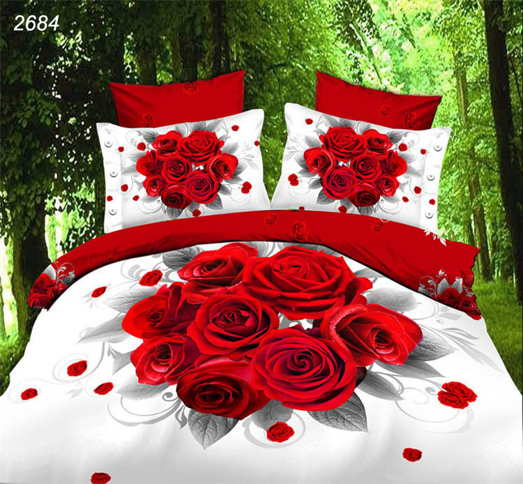 3D bedding sets 8 red roses Bouquet edredon queen quilt cover white red bed linens bedspread bedclothes cheap bed in a bag 2684(China (Mainland))