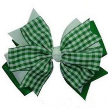 Tartan Plaid Hair Bow Hunter Green Red Ribbon Christmas Girls Baby Free Shipping