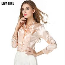 Mainland Plus Size S-3XL Bow Slim Shirt Blouse Elegant Fashion Women's Slim Satin Blouse Bowknot Neck Working Shirts Tops(China (Mainland))