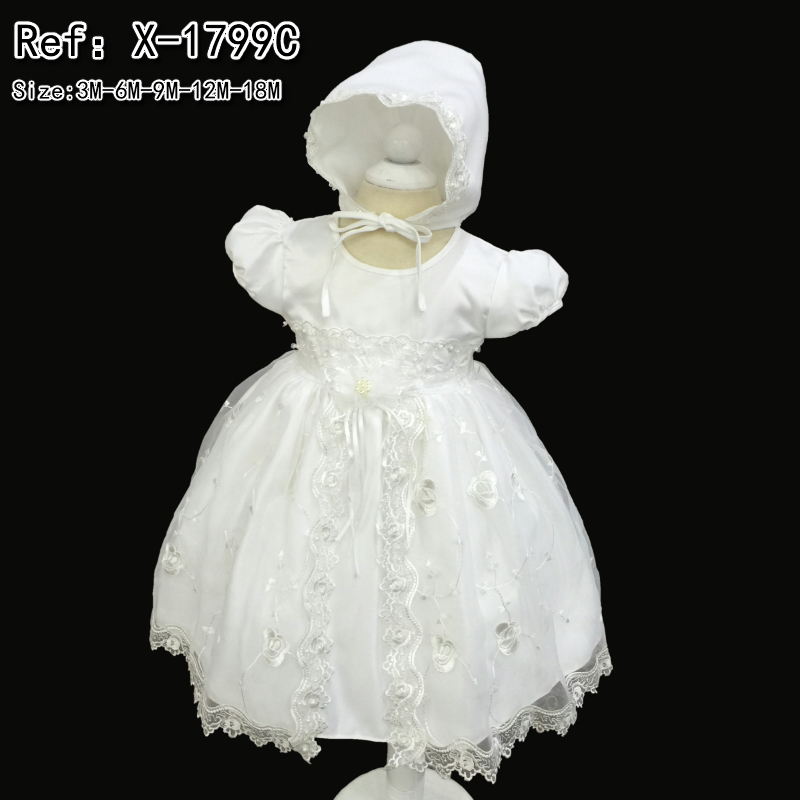 Factory Wholesale Cotton Lining Infant Dress Embroidery 2016 New Dress For 1 Year baby girl birthday Baby Christening Gown 1799C(China (Mainland))
