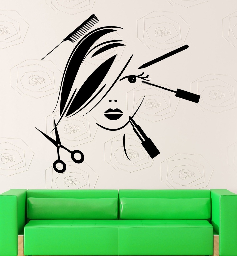 Hair Salon Wall Decal Vinyl Sticker Beauty Barber Shop Tools Scissors Comb Window Glass Decoration - 365DAYS SWEET HOME (HOME Artist-Vicky Li store)