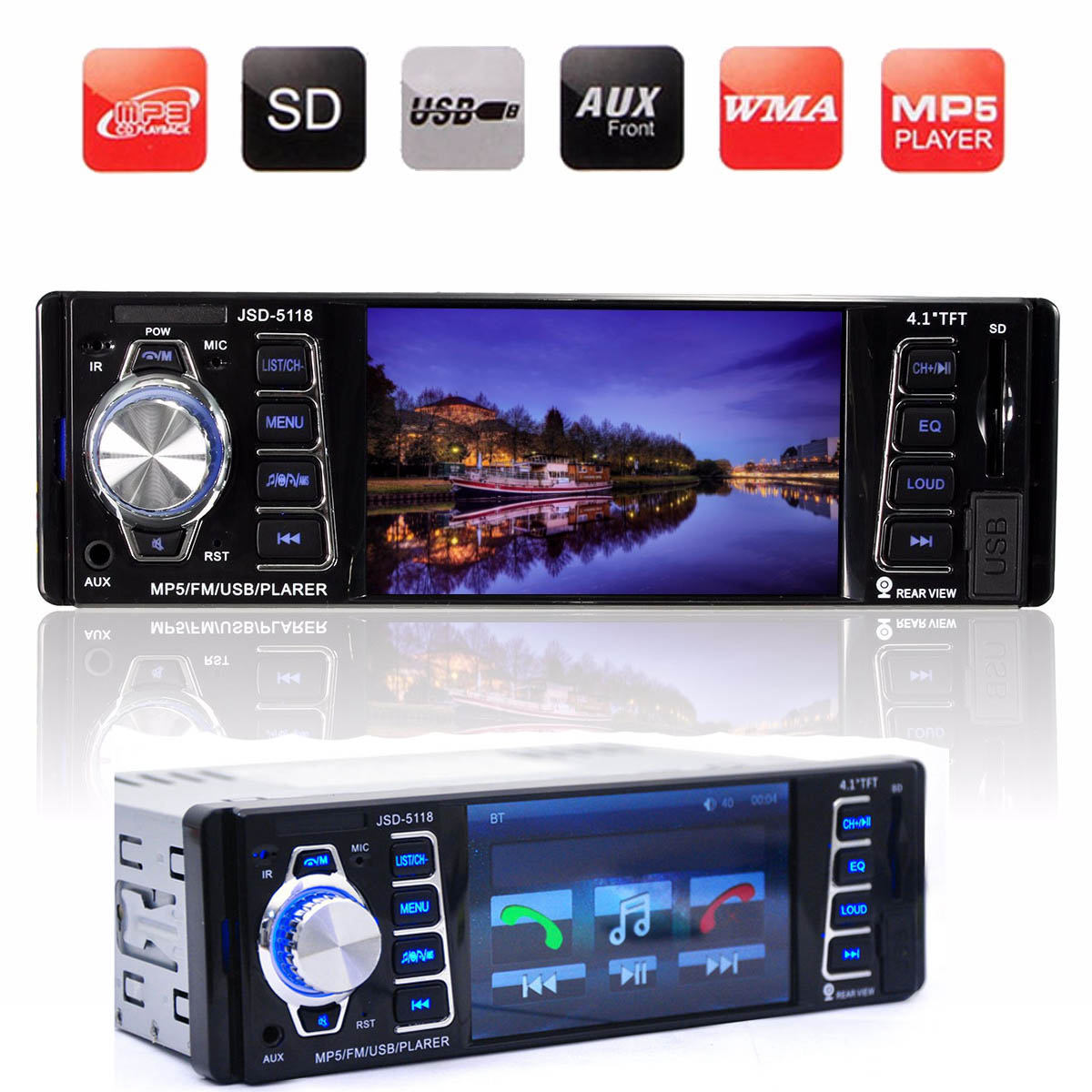 2016 Brand New 4.1 Inch 12V Car Bluetooth Radio Audio Stereo MP3 MP5 Player Hands-free FM/USB/AUX/SD Remote Control(China (Mainland))