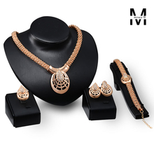 18k big dubai gold plated jewelry set for women Vintage Chunky Statement Necklace Earrings Bracelet Ring Jewelry Sets Wholesale