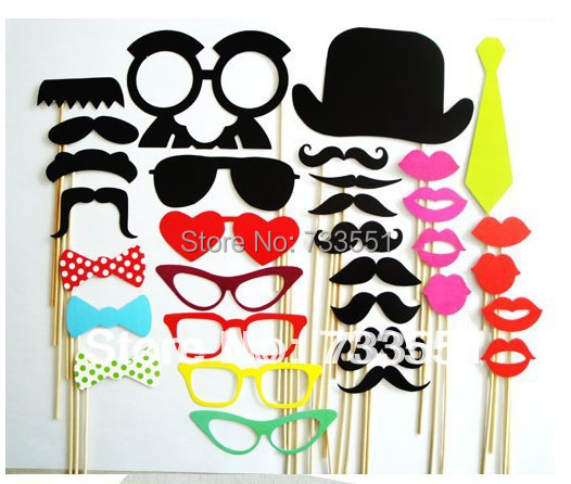 Promotional!New Year Sale!Free Shipping 32pcs Funny Photo Booth Props Hat Mustache On A Stick Birthday Party fun favor(China (Mainland))