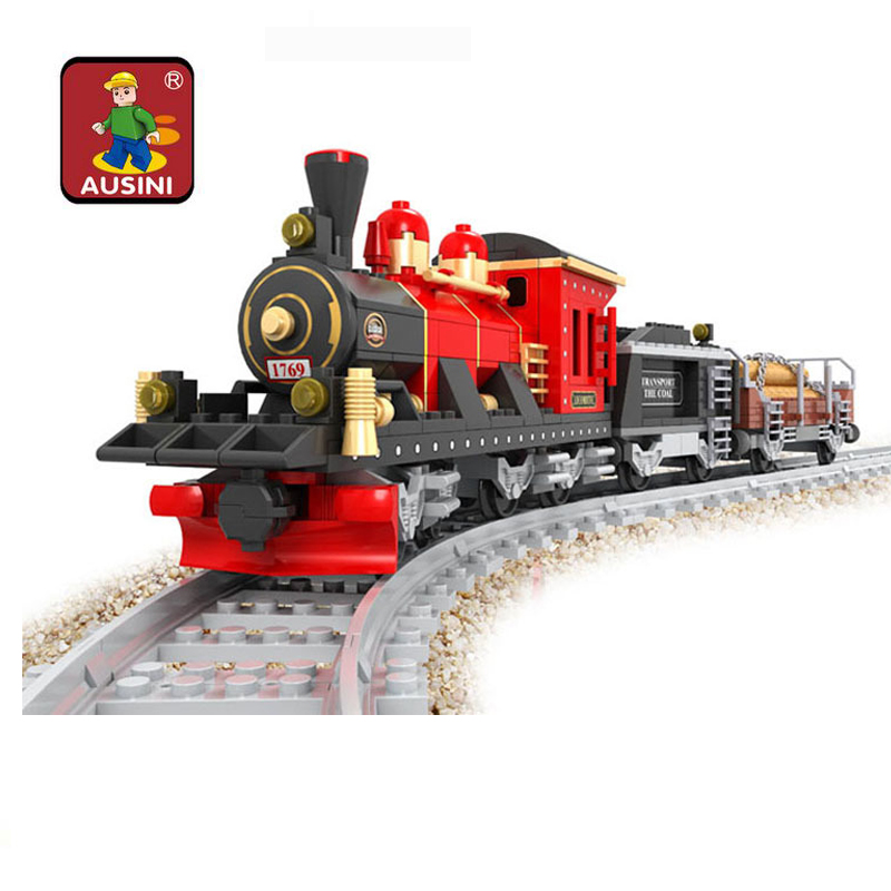 Building block train set Enlighten Train Series Steam Freight Locomotive building block sets,toys for children free Shipping(China (Mainland))