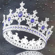 Baroque Mahkota Mewah Tiara Pengantin dan Mahkota Bulat Mahkota Ratu Raja Tiara Headband Pernikahan Rambut Perhiasan Aksesoris(China)