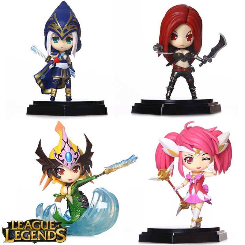 4pcs/lot Anime Recreation Katarina Ashe Lux Nami Cartoon Motion Determine PVC Doll ACGN Storage Equipment Toy Brinquedos Presents for Youngsters