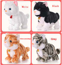 2016 Baby Toys Products Sound Control Electronic Pet Electronic Toys Cat Robot Cat Stand Walk Plush Kids Toys Gift for Children(China (Mainland))