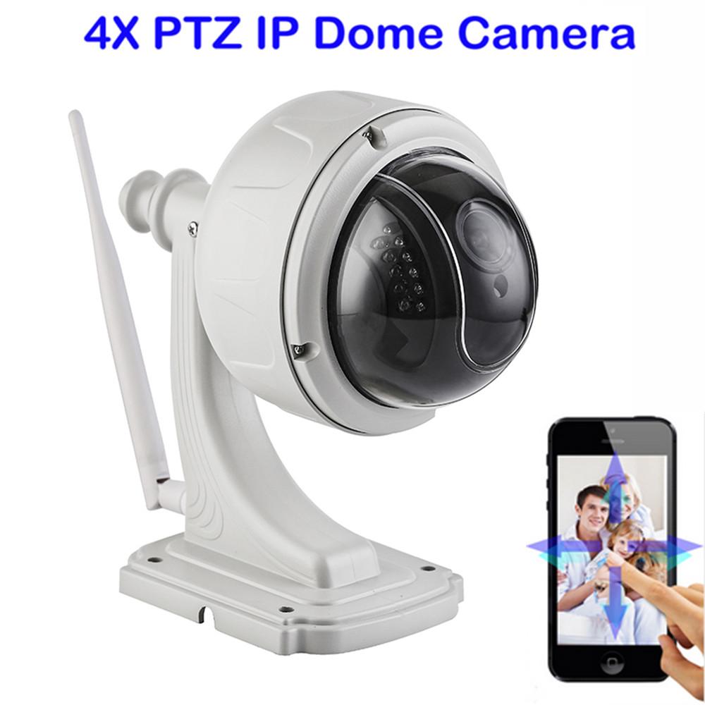 720P 1.0 Megapixels WiFi Wireless IP Speed Dome Camera IR-CUT PTZ 4X Zoom CCTV Security Surveillance Camera P2P Motion Detection(China (Mainland))
