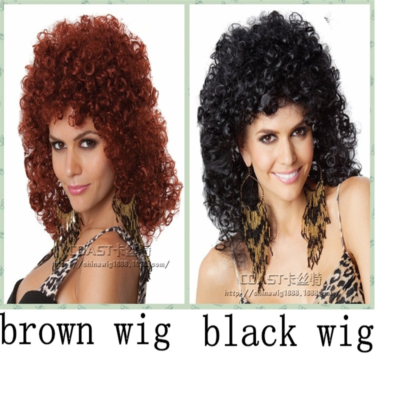 2015 Curly Wavy Synthetic Anime Cosplay Party Full Wigs cheap surly synthetic wigs african american wig peruca preta rubias<br><br>Aliexpress