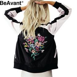 BeAvant Apparel Cool floral embroidery bomber jacket Summer stain women jacket casual sport coat Sukajan basic baseball jackets