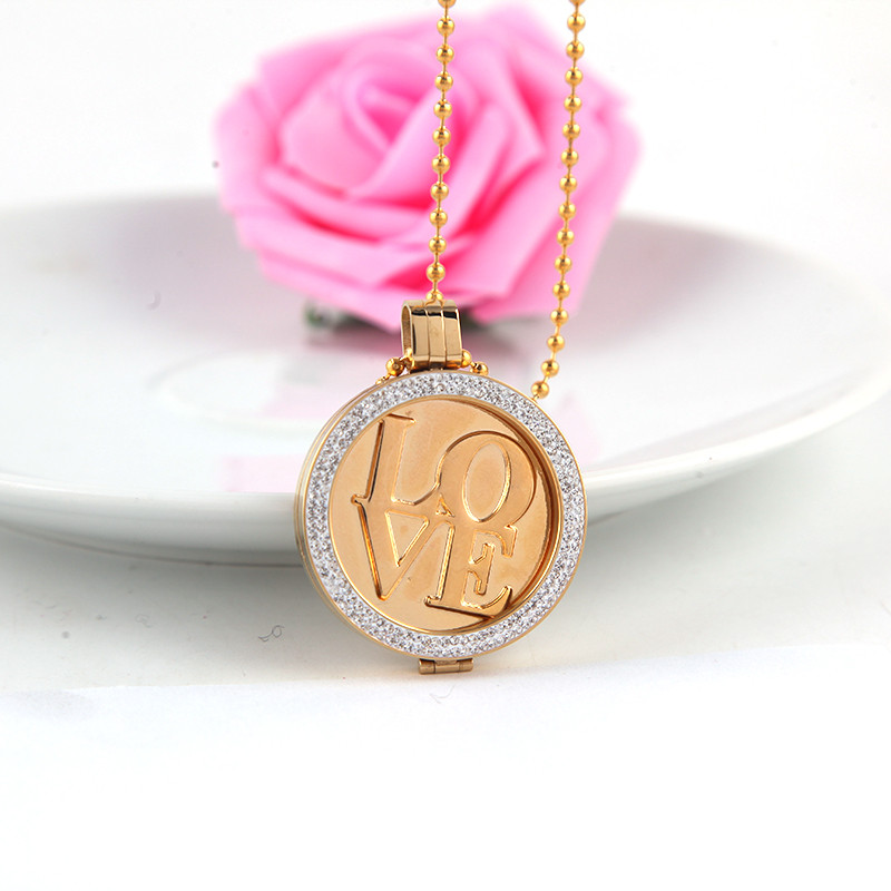 Fashion Jewelry 14K Real Gold plated 33mm Frame Pendant My Coin Necklace Best Gift to Valentines Day Top Quality<br><br>Aliexpress
