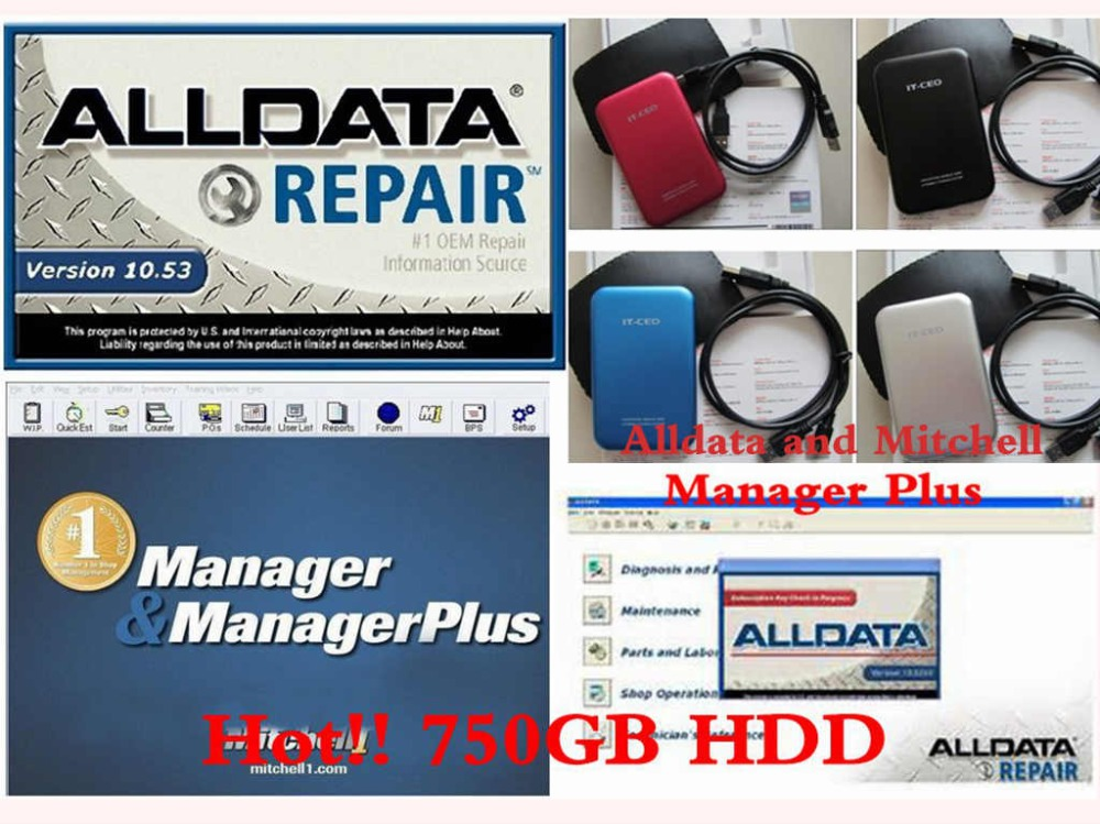 alldata 10.53+ 2014 mitchell on demand+ manager plus 3 auto repair softwares in 750gb hdd support installing remote help(China (Mainland))