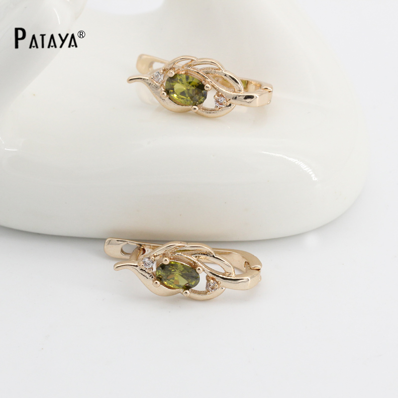Natural Olive green Earrings Gold 585 Plated Cubic Zircon Fine Jewelry brincos longos Accessories Vintage Olive
