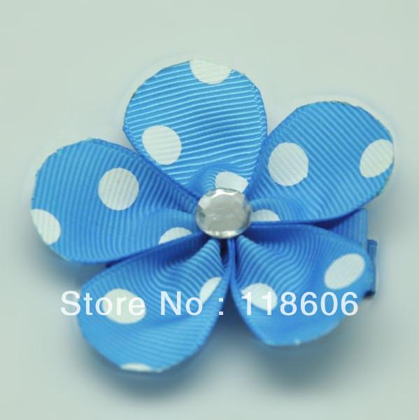 Free Shipping 300pcs Pastel 5 Petal Swiss Polka Dot Grosgrain Ribbon FLOWER Hair ClipОдежда и ак�е��уары<br><br><br>Aliexpress