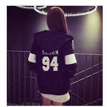 kpop EXO clothes loose drawstring hooded baseball uniform Sweatshirts student plus velvet cotton jacket k-pop Hoodies garment do