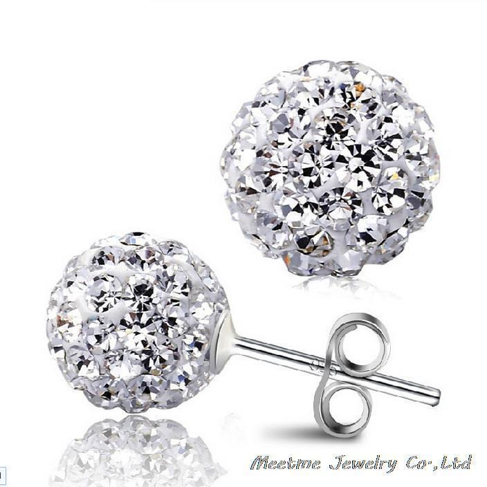 4 Sizes Selection!925 Sterling Silver Full Crystal Ball Shambhala Ear Studs Earrings Fashion Jewelry Gifr for Women MM-ED03-10mm(China (Mainland))