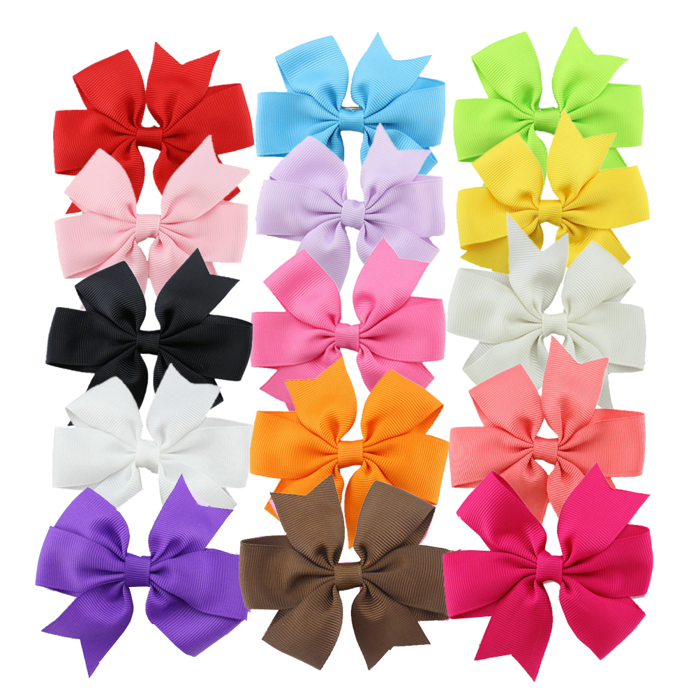 1pcs 3 inch Grosgrain Ribbon Hair Bows WITH Clip,Baby Girl Pinwheel boutique hairbows/Hair Clips/Hair Pins Accessories(China (Mainland))