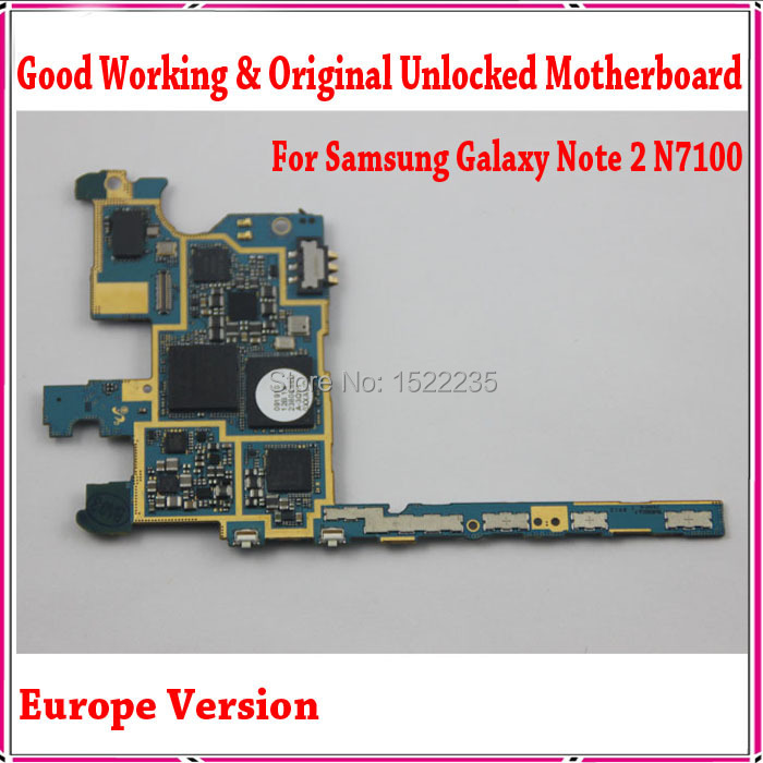 100% Original n7100 Main Board,Europe Version Unlocked For Samsung Galaxy Note 2 N7100 Motherboard with Chips,Good Working