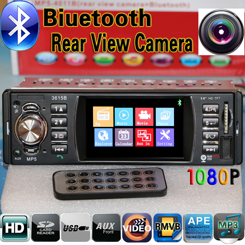 12V Car Radio Player 3.6''HD Supports Bluetooth/Rear view camera/Stereo FM/USB/SD/MP3/MP4/MP5/Audio/Video/auto Electronics 1DIN(China (Mainland))