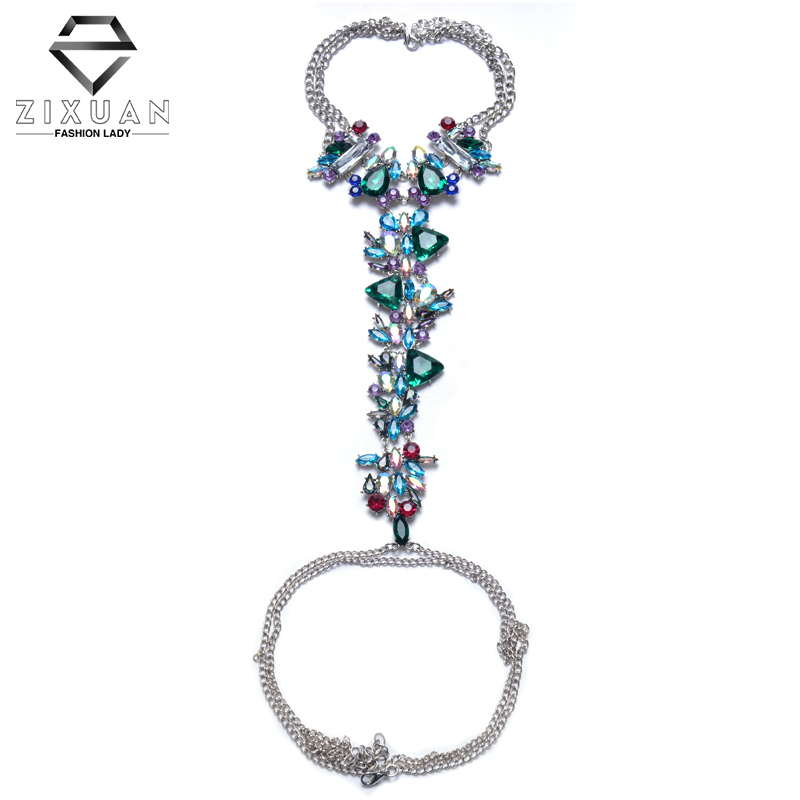 Fashion Hot Sale Statement Necklace on Facebook Colorful Long Body Jewelry Women Luxury Crystal Sexy Boho Body Chain Necklace(China (Mainland))
