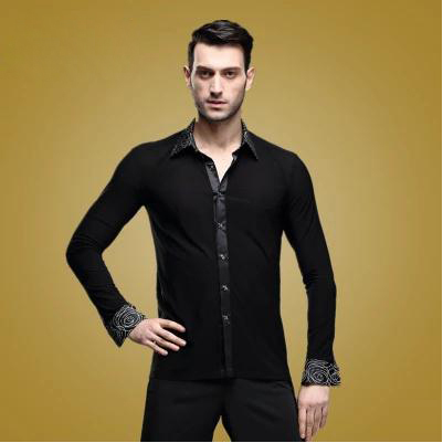 Mens latin dance costume mens long sleeves spandex Printing latin dance Shirt for men latin dancing competition ShirtsОдежда и ак�е��уары<br><br><br>Aliexpress