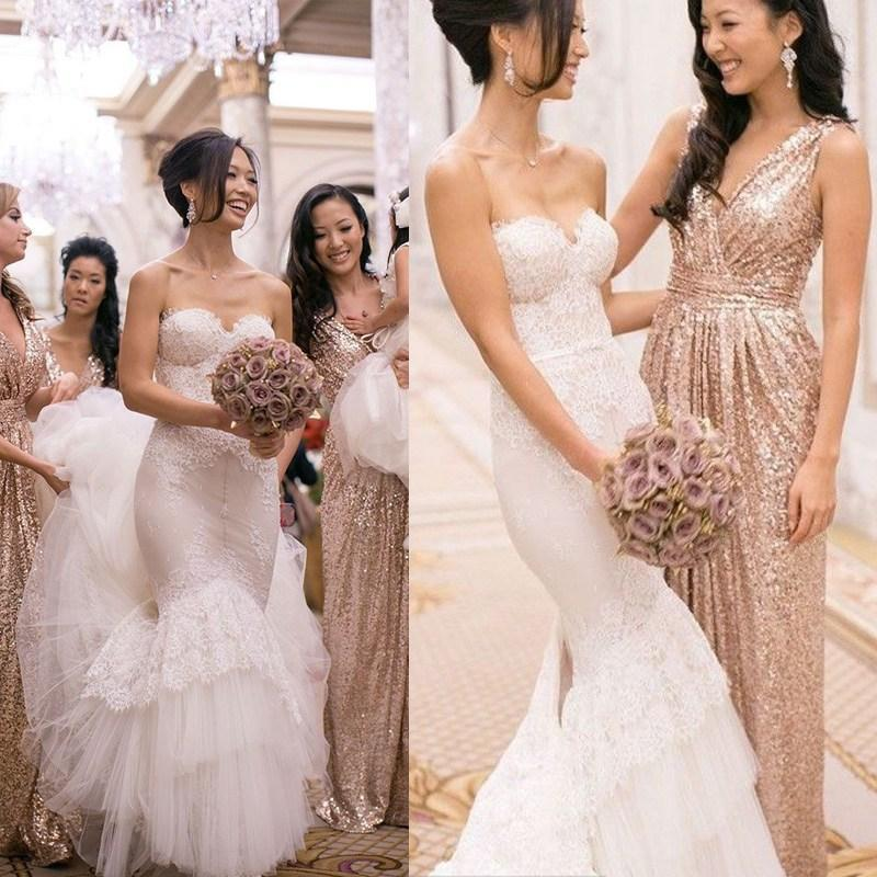 Gold Sequins Bridesmaid Dresses 2016 Deep V Neck A-Line Sparking Floor-Length Maid Honor Formal Prom Gowns - cutebridal store