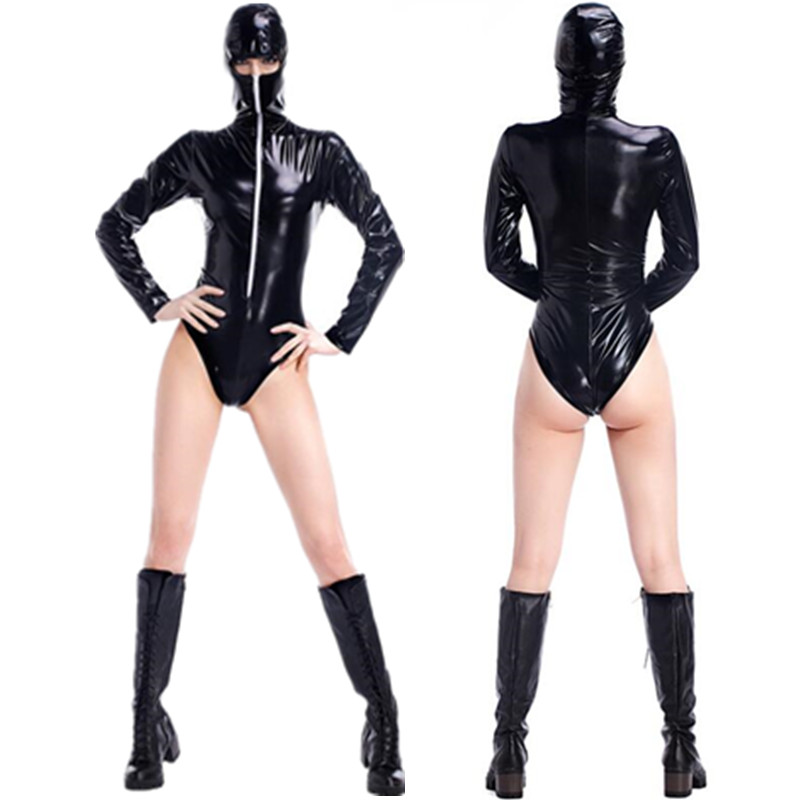 Sexy Black Leather Ninja Costumes Adult Women Cosplay Halloween Masked Ninja Hooded Jumpsuits Nightclub Bar DS Clothing(China (Mainland))