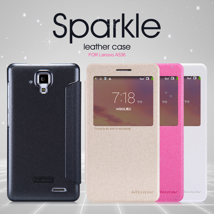For Lenovo A536 NILLKIN sparkle flip PU Leather with smart view window hard plastic back cover with retail package(China (Mainland))