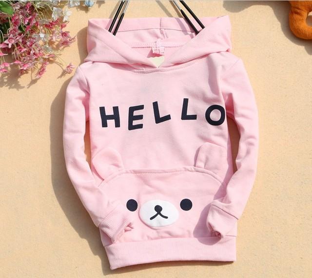 3 Color Girls Cartoon hooded T-shirt Children cotton T- shirt girls coat shirt Hooded t shirt