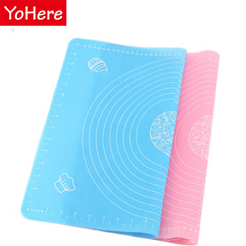 YoHere kitchen tools 1 piece dough pad chopping board table silicone pad thicken drawing slip-resistant 50*40cm baking mat(China (Mainland))