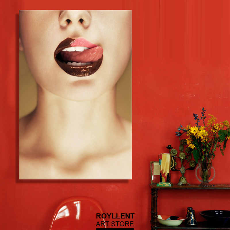 Mordern Wall Art Sexy Lips Picture Canvas Print Painting For Home Decoration Livingroom Decor(Unframed)RA0056(China (Mainland))