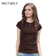 2016 New High Quality 18 Color Simple T Shirt Women Solid color Tees Plain Cotton short sleeve T-shirt Female Tops Black 0002(China (Mainland))